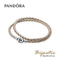 Pandora кожаный бежевый браслет 590705CPL-D серебро 925 Пандора оригинал, фото 1