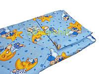 Постельный набор в детскую кроватку (3 предмета) Мишки на луне синий