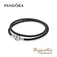 Pandora кожаный браслет 590705CBK-D серебро 925 Пандора оригинал