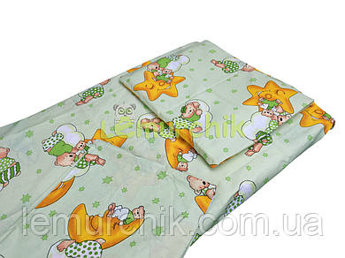 Постельный набор в детскую кроватку (3 предмета) Мишки на луне салатовый