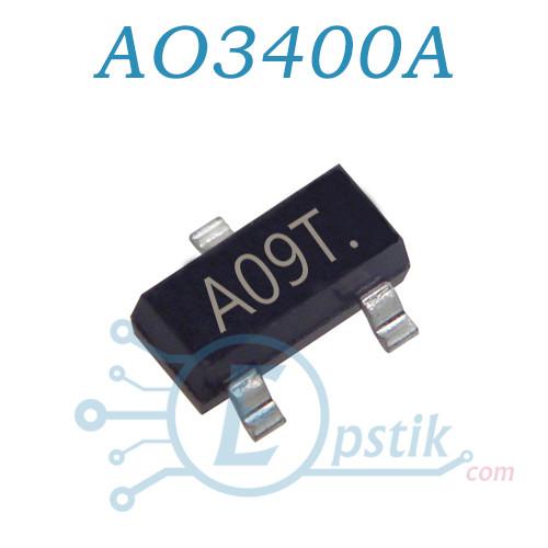 """AO3400A, (A09T), MOSFET транзистор, N канал, 30V 5.7A, SOT23: продажа, цена в Кировоградской области. транзисторы от """"Epstik - магазин радиокомпонентов"""" - 562005580"""