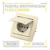 Розетка электрическая VI-KO Carmen одинарная с заземлением и крышкой кремовая, фото 1