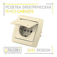 Розетка электрическая VI-KO Carmen одинарная с заземлением и крышкой кремовая