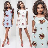 Модное женское платье мини с карманами / Украина / лен