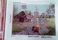 """Ткань с нанесенным рисунком-схемой (атлас) """"Голубые цветочки"""", 26*35см., для вышивания бисером, БИС3111"""