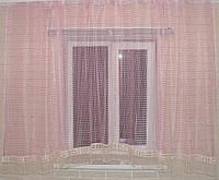 Тюль сетка  арка с кружевом  на кухню розового цвета