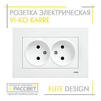 Розетка электрическая VI-KO Karre двойная без заземления белая