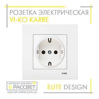 Розетка электрическая VI-KO KARRE одинарная с заземлением белая