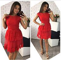 8ab57c41728 Женское платье с фатином и вышивкой в расцветках. В-1-0717