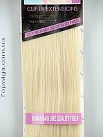Волосы на клипсах трессы Viola 70 СМ, 8 прядей на заколках термо, цвет 613 блондин с теплым оттенком