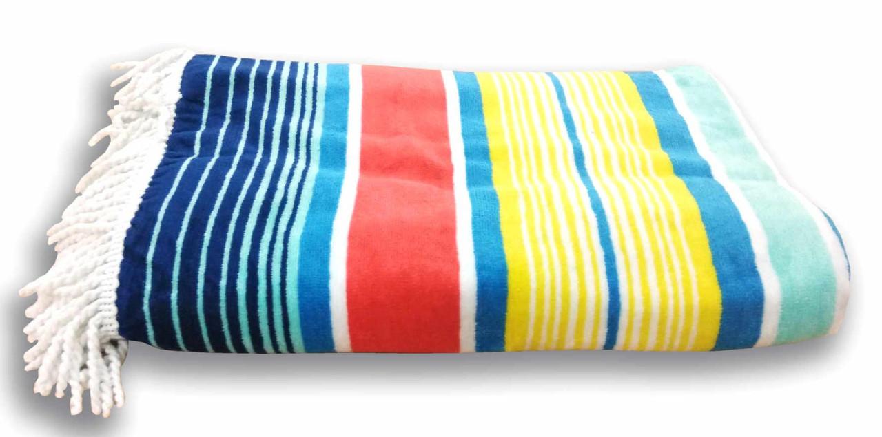 Полотенце пляжное велюровое BENETTON 96х170 450гр Индия (7731)