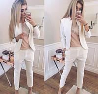 Модный женский костюм (креп костюмка Барби, узкие брюки-капри, жакет, длинные рукава) РАЗНЫЕ ЦВЕТА!