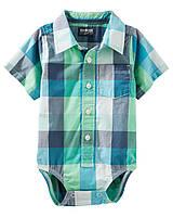 Детская летняя клетчатая боди рубашка OshKosh B'gosh для мальчика,  78 см (12М)