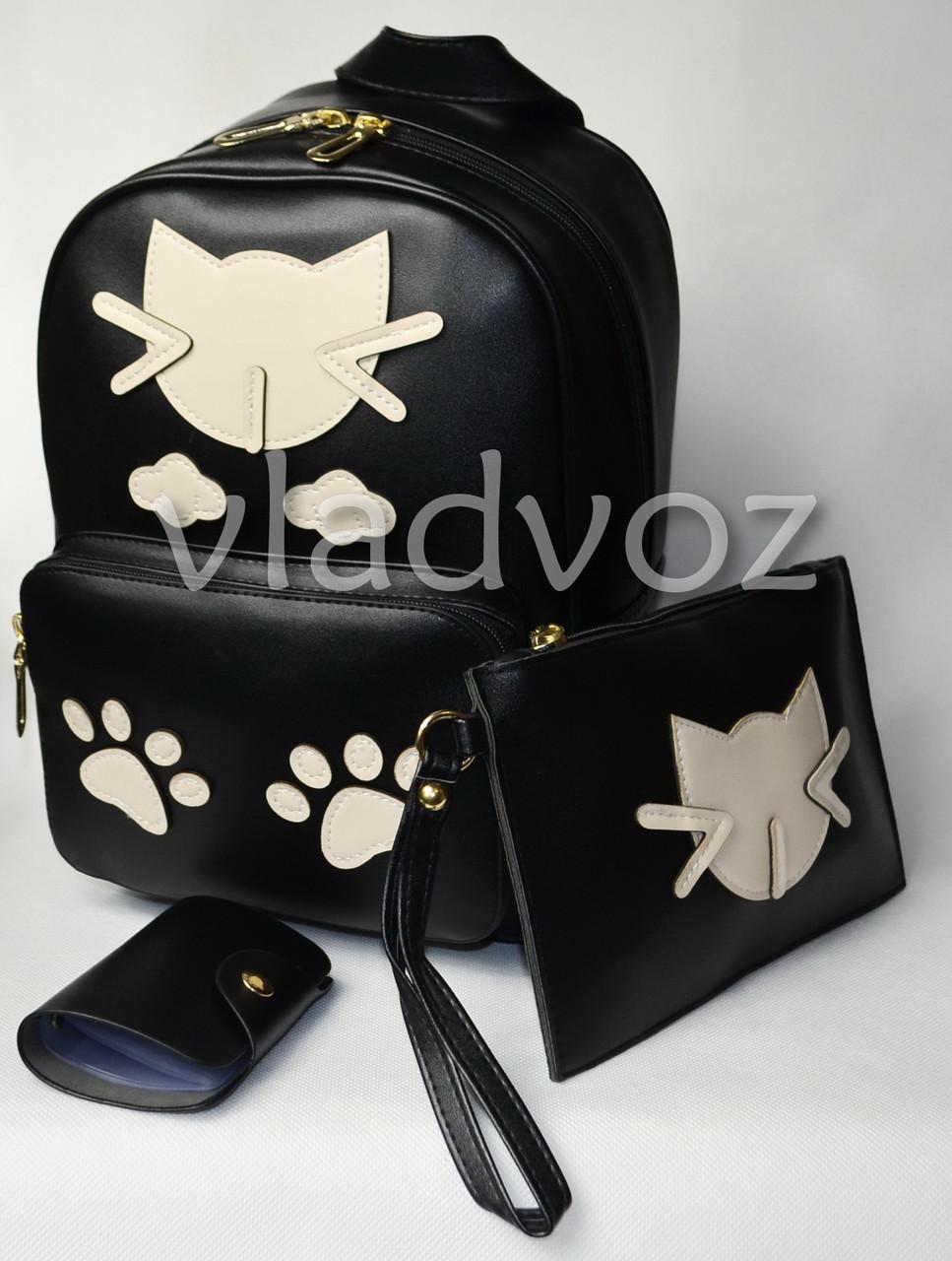 Молодежный модный женский рюкзак подросток девочка черный кот