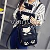 Молодежный модный женский рюкзак подросток девочка черный кот, фото 4