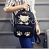 Молодежный модный женский рюкзак подросток девочка черный кот, фото 5