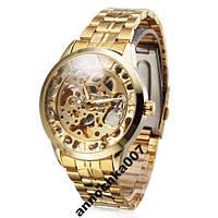 Оригинал! Мужские механические часы Winner Gold Автоподводом (Мужские часы Winner Gold механика, корпус-сталь), фото 1