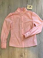 Блуза школьная нарядная на девочку Николет Размеры 116- 140 Цвет пудра