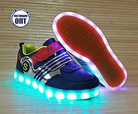 Кроссовки для мальчика со светящейся LED подошвой с USB кабелем 34, 35, 36