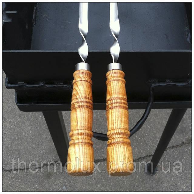 Деревянная ручка шампура с кольцом жесткости