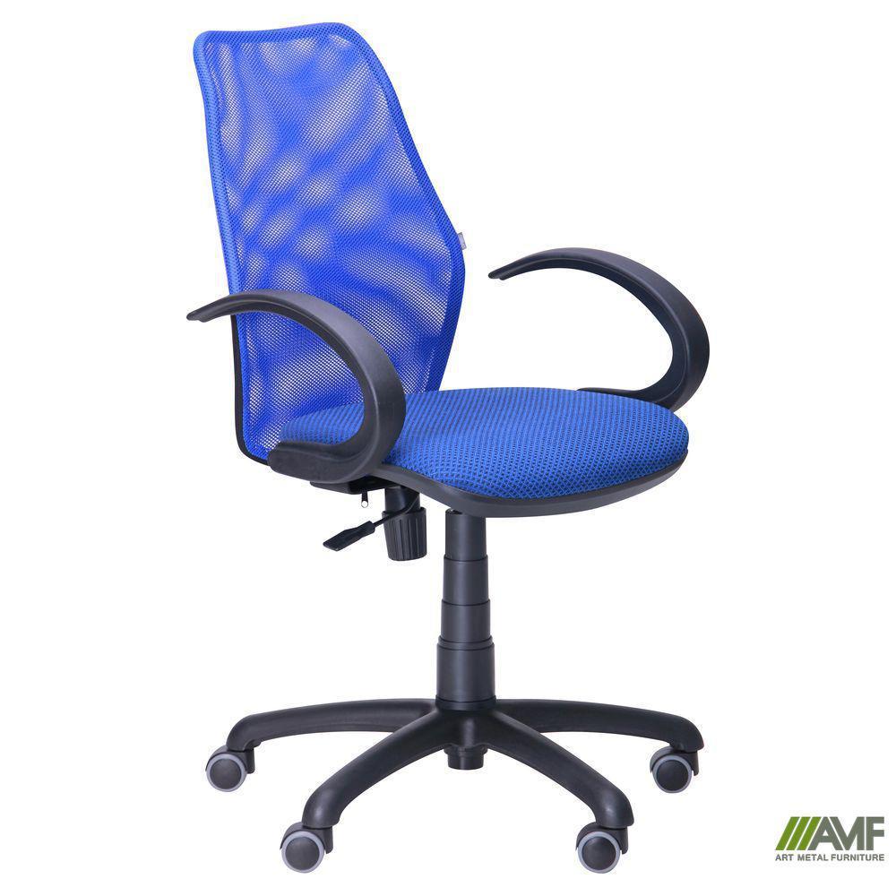Кресло Oxi/АМФ-5 сиденье Сетка серая/спинка Сетка синяя
