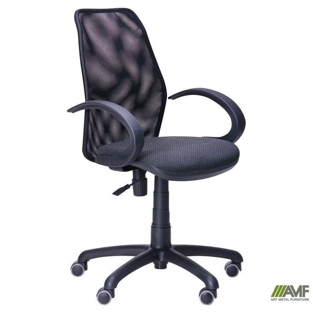 Крісло Oxi/АМФ-5 сидіння Фортуна-28/Сітка чорна спинка