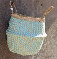 Декоративная корзина Seagrass Belly Basket №S-126 - Бирюзовый зигзаг