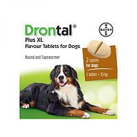 ДРОНТАЛ ПЛЮС XL для собак со вкусом мяса, против круглых и ленточных гельминтов, 1 табл. на 35 кг