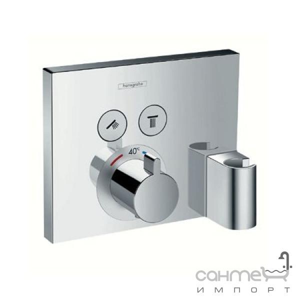 Смесители Hansgrohe Внешняя часть термостата для душа Hansgrohe Shower Select 15765000 с держателем для лейки