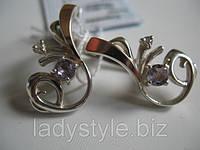 """Изысканные серьги """"Соната"""" с натуральным аметистом от Студии  www.LadyStyle.Biz"""