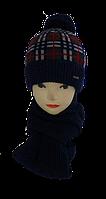 Комплект вязаный для мальчика шапка и шарф м 7030,р 3-12 лет