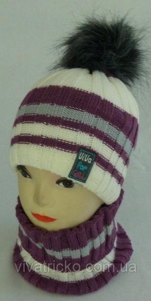 Комплект для девочки шапка на флисе и манишка м 7031. р 3-12 лет