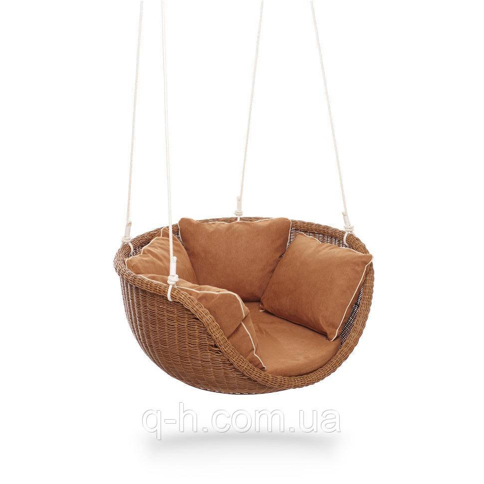 Подвесное кресло-качела невада-м плетеное из искусственного ротанга