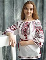 Вишиванка 3/4 рукав  (ручна вишивка, домоткане полотно)