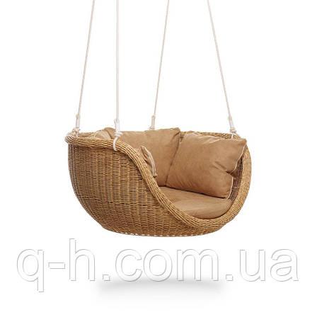 Подвесное кресло-качела невада-м плетеное из искусственного ротанга, фото 2