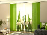 Панельная штора Белые тюльпаны комплект 4 шт