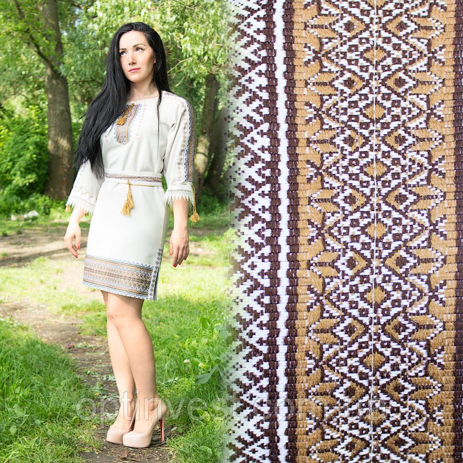 Этническое женское платье с геометрической вышивкой