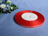 Лента атлас в горошек 0,6 см. Цвет красный.  Цена за бобину  50 метров 44 грн. Цена за метр 1,1 грн