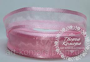 Органза с атласным краем 2,5 см, розовая