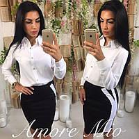 Костюм женский рубашка и юбка с лампасами до колена разные цвета KL509