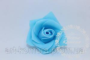 Головка розы латексная голубая, 5 см