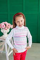 Свитер-гольф Many&Many белый с розовыми полосами. Снежинки+Сердечки.