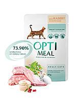 Консервированный корм Optimeal для взрослых кошек с кроликом в белом соусе, 0,085кг