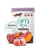 Беззерновой консервированный корм Optimeal для взрослых кошек с ягнятиной и куриным филе в тыквенном  желе
