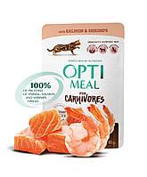 Беззерновой консервированный корм Optimeal для взрослых кошек с лососем и креветками в соусе, 0,85кг