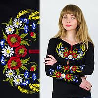 Вышиванка трикотажная черная женская Колосок XL
