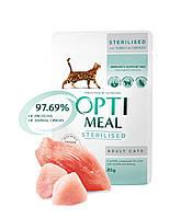 Консервированный корм Optimeal для стерилизованных кошек и кастрированных котов с индейкой и куриным филе