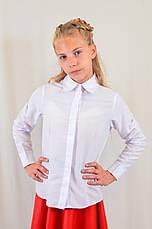 Школьная белая блуза с длинным рукавом для девочки из х/б, Польша, фото 3