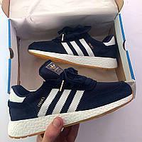 Темно синие женские кроссовки адидас, Adidas Iniki Blue