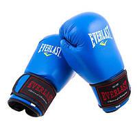 Перчатки боксерские из натуральной кожи EVERLAST 3STRAP (6 унций, синий)